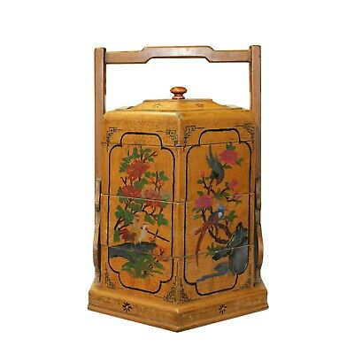 Chinese Yellow Lacquer Season Floral Graphic Stack Box Basket cs5649