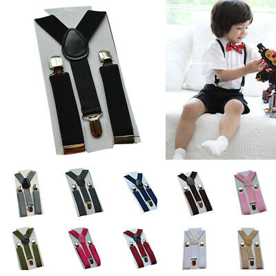 Girls Boys Casual Formal Wedding Party Suspenders Clip-on Elastic Braces Fashion
