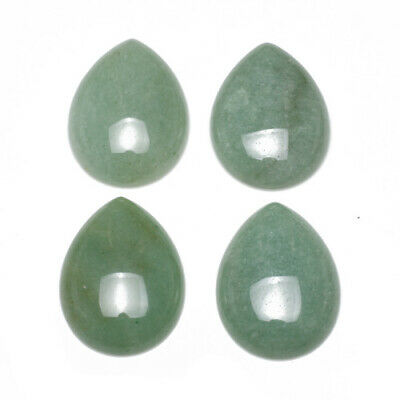 Packet 3 x Green Aventurine Flat Back 10 x 14mm Oval 5mm Thick Cabochon Y08975