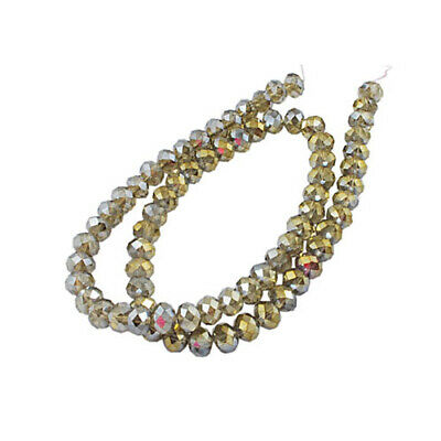 Czech Crystal Glass Faceted Rondelle Beads 4 x 6mm Grey 95+ Pcs AB DIY Jewellery