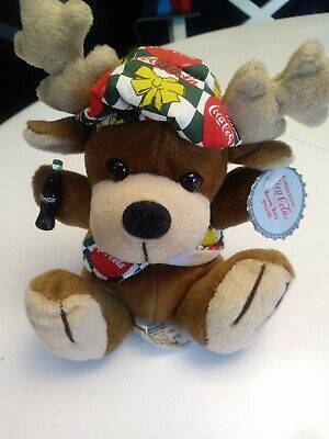 "Coca-Cola ""Reindeer With A Coke In Vest & Beanie"" Euc Bean Bag Plush 1998"