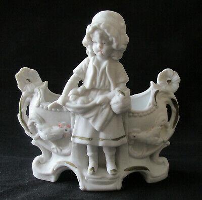 Antique Porcelain Spill Vase Numbered Girl W/ Chicks Chickens Handled Urn