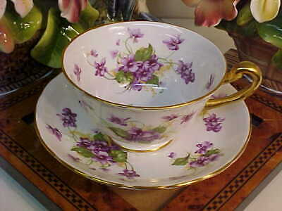Royal Chelsea Violets Bone China Tea Cup & Saucer England
