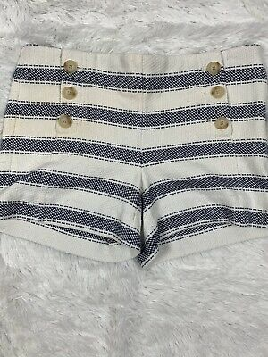 Ann Taylor Womens The Riveria Shorts Size 0 Blue & White Front Buttons Sailor
