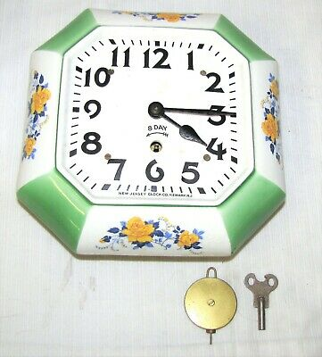 Vintage--Kitchen--Wall Clock--New Jersey Clock Co.--With Key & Pendulum