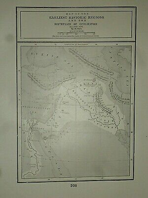 Vintage Historical Map ~ BIRTHPLACE of CIVILIZATION B.C. 3000 ~  Printed in 1892