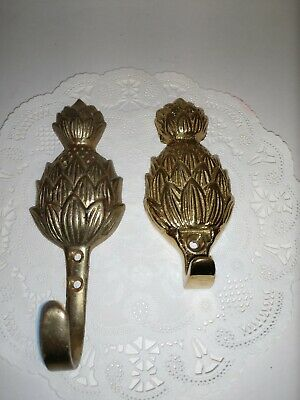 Pair Of Two Brass Pineapple Hooks Two Types