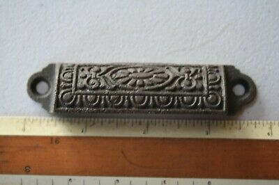 Vintage Cast Iron Victorian Drawer Handle Bin Pull 3 1/4 OC Egg & Dart