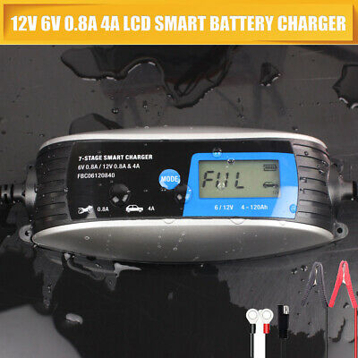4A 0.8A 12V 6V 0.8A Waterproof Smart Battery Charger Booster Vehicle Van Car New