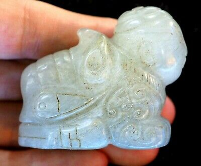 Antique Chinese Nephrite Hetian White Jade carved Fish Amulet Pendant Chinese