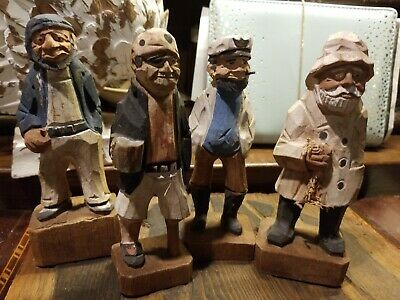 """Nautical Sailors Fisherman Figurine Wooden 6"""" Tall Hand Carved"""