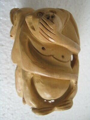 Wooden Three Monkeys Detailed , Intricate Carving . Unusual Poses , Wood Monkey