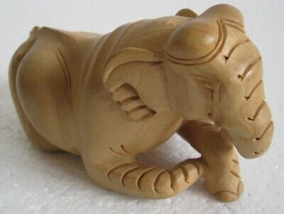 Wooden Sitting Elephant Detailed , Intricate Carving