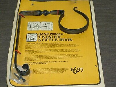 Vintage Anvil Chorus Hand Forged Wrought Iron Twisted Kettle  Plant Hook New Nos
