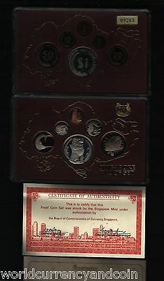 Singapore 1 5 10 20 50 5 Dollars 1982 Silver Proof Unc Coin Set In Original Box