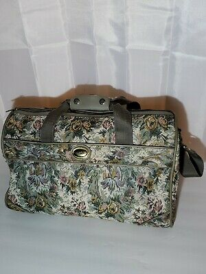 """Jordache Carry-On Tote/Duffle Bag Overnight Floral Tapestry 16"""" Bag Vintage"""