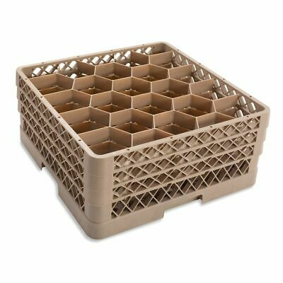 Traex TR11GGG Beige 20 Compartment Glass Rack with 3 Extenders