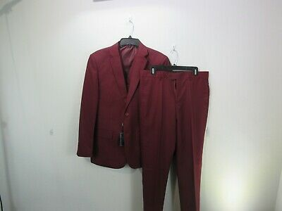 Three-piece Brave Man's Burgundy Suit 38RX32W