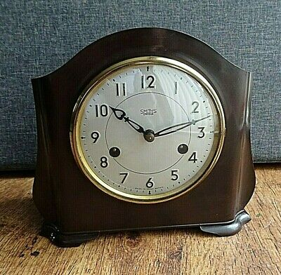 Antique Smiths Enfield 8 Day Bakelite Mantel Clock with Chime (Key & Pendulum)
