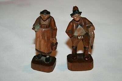 Vintage Miniature Solid Wood Pair Hand Carved Couple Wooden Carving Collectors