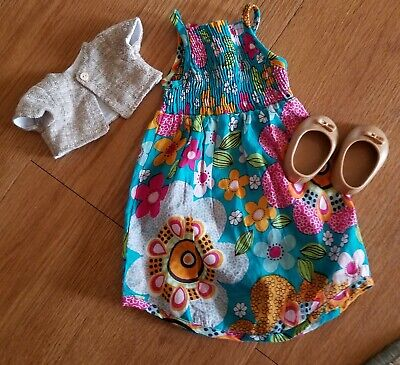 Flower print spring dress w/shoes outfit for 18 inch doll fits American girl