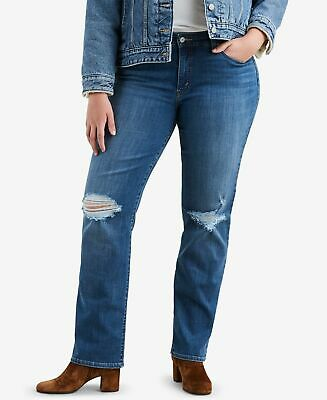 Levi's Womens Jeans Blue Size 24W Plus Classic Straight Ripped Stretch $59 020