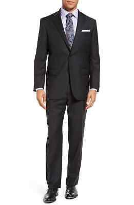 Hart Schaffner Marx Mens Suits Black Size 46 Two Tonal Button Wool $795- 299