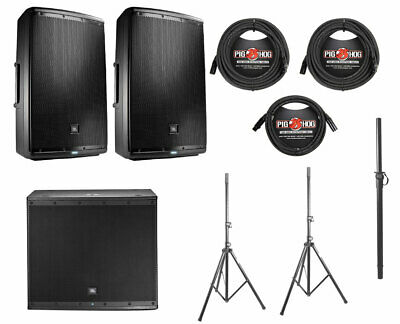 2x JBL EON615 1000 Watt Powered Active Speaker+JBL EON618S+Pole+Stands+Cables