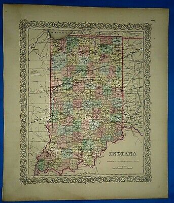 Vintage 1857 MAP ~ INDIANA ~ Old Antique Original Colton's Atlas Map