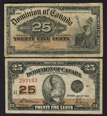 CANADA - Dominion.  P-9b & 11b.  25 Cents : 1900 (VG-F) & 1923 (VF). 2 Notes