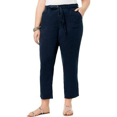 Style & Co. Womens Pants Navy Blue 22W Plus Belted Button-Front Capri $59 353