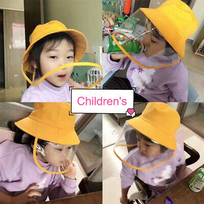 Kids Fisherman Cap + Protective Clear Mask Saliva-proof Dust-proof Sun Visor Hat