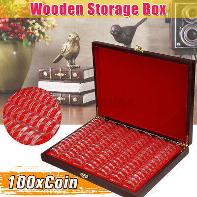 Wooden Coins Display Storage Box Holder Collectible Coin Case w/100 Capsules