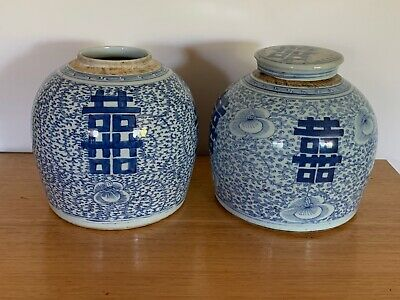 A Pair Of Oriental Blue And White Jar