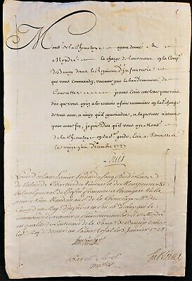 King Louis Xv And Louis 1-Er D'orlean Autographs On Military Order - 1727