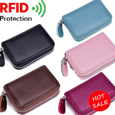 Women/Men's Leather RFID-Blocking Purse ID/Credit Card Holder Coin Small Wallet
