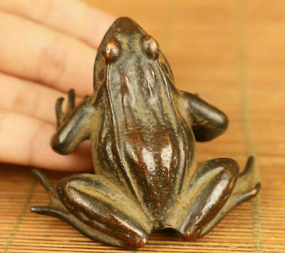 Rare Hand Casting Fortune Frog Big Bronze Statue Netsuke Table Decoration Gift
