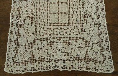 Antique Ecru Table Runner Net Lace Trim Embroidery French Knots As is