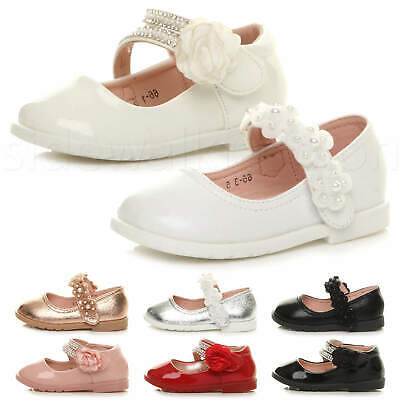 Girls kids childrens ballet flats Mary Jane diamante flower party shoes size