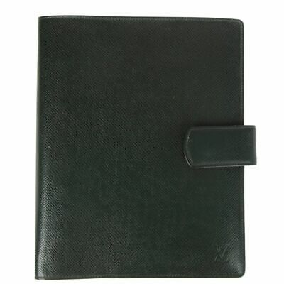 59986 auth LOUIS VUITTON forest green TAIGA leather LARGE RING AGENDA COVER
