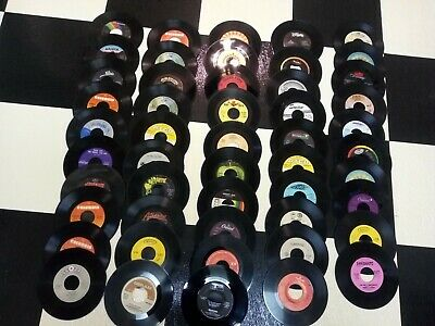 "Lot of 50 vintage vinyl 45-rpm records Craft Decoration jukebox 7"" RocK pop SSS"
