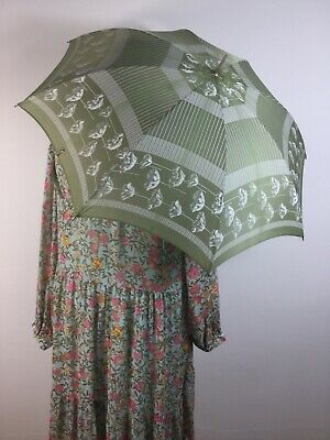 Vtg St Michael 1960s Umbrella Olive Green Poppy Striped Hook Handle Polyamide