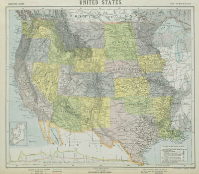 WESTERN USA States & territories Central Pacific Railroad section LETTS 1884 map