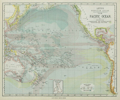 PACIFIC OCEAN & ISLANDS. Australasia. Currents. LETTS 1884 old antique map