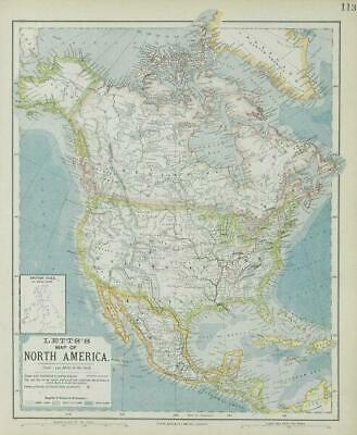 NORTH AMERICA showing Union Pacific transcontinental railroad. LETTS 1884 map