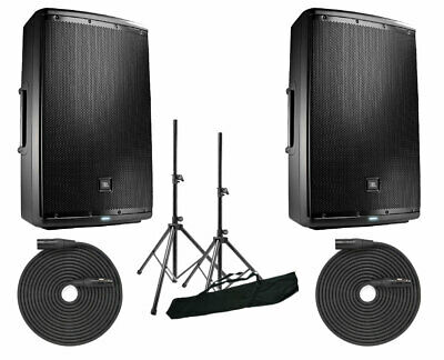 "2x JBL EON615 1000 Watt Powered 15"" Active Speaker + Stands + XLR Cables"