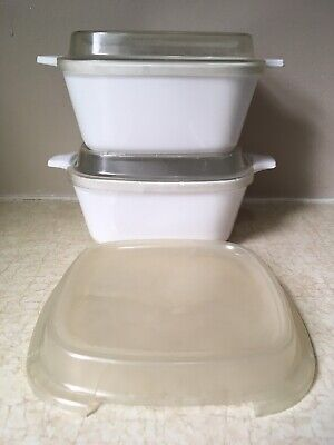2 SMALL Corning Ware ALL SOLID WHITE Casserole Dishes 3 Plastic Lids P43B 700 ml