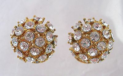 Nolan Miller Rhinestone Button Type Earrings Clip Ons