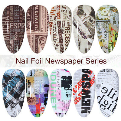 10Sheets Nail Art Foils Stickers Newspaper Pattern Transfer Decal Decoration DIY