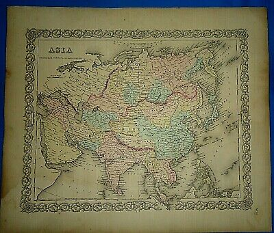 Vintage 1857 MAP ~ ASIA ~ Old Antique Original Colton's Atlas Map